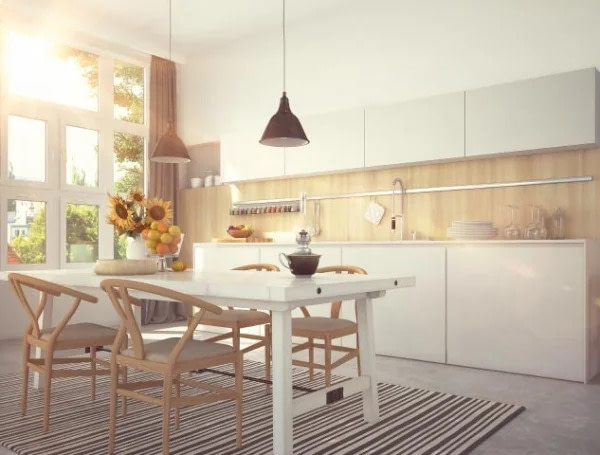 מטבח קלאסי בצבע לבם עם שולחן וכסאות בצבע עץ